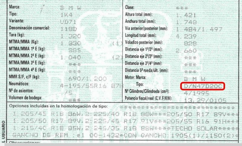 problema cadena distribución motores N47 de BMW - ficha técnica